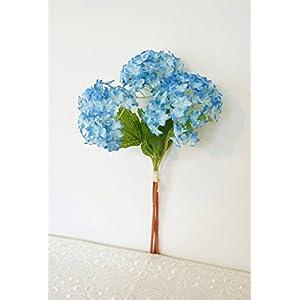 Sweet Home Deco 12'' Silk Snow Ball Geranium Artificial Flower Bunch (3 Stems w/ 3 Flower Heads) Craft Flowers for Arrangements Bouquets 15
