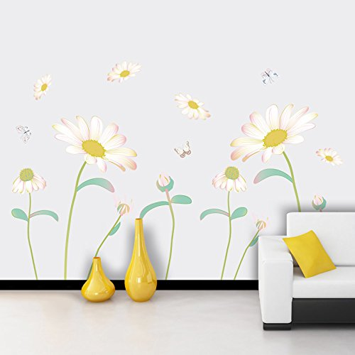 (Home Decoration Wall Stickers Warm wall stickers Daisy baseboard stickers Creative wedding room Children's room Self-adhesive wallpaper Corner wall decoration stickers 13085cmWall Sticker Decals.)