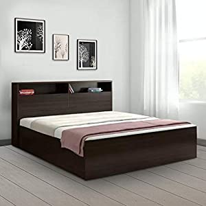 HomeTown Alex King Size Bed with Storage (Textured Finish, Dark Walnut)
