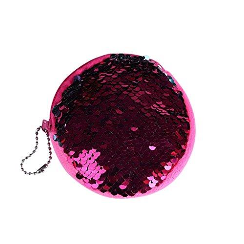 Sequins Hot Bag Voberry Wallet Pouch Ladies Women Pink Coin Double Color Purse qwv7xtR