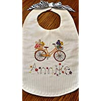 Personalized embroidered baby bib, bicycle