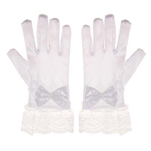 真実書道ぶら下がるDovewill ガール 短い手袋 フラワー レース サテン 蝶結び付き プリンセス グローブ 伸縮性 柔らかい 滑らか 手袋 ホワイト 1ペア入り