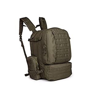 OUTGEAR Military Assault MOLLE Rucksack 3 Day Large Tactical Gear Backpack with Grenade Survival Kit For Hiking Climbing Outdoor Sports, O.D. Green
