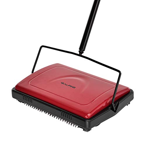 Alpine Industries Triple Brush Floor & Carpet Sweeper - Heavy Duty & Non Electric Multi-Surface Cleaner - Easy Manual Sweeping for Carpeted Floors (Red)