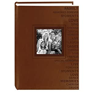 Pioneer Photo Albums 300-Pocket 4 by 6-Inch Embossed Words Design Leatherette Two-Tone Frame Cover Photo Album, Brown