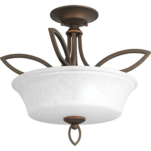 - Progress Lighting P3674-102 2-100W Medium Base Semi-Flush Convertible, Roasted Java