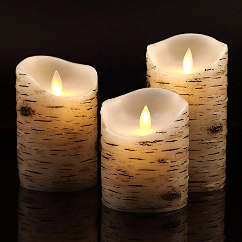 (Vinkor Flameless Candles Flickering Candles Birch Bark Set of 4 5