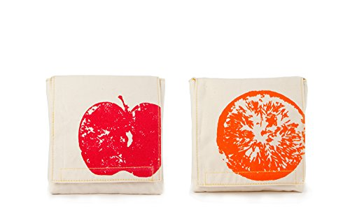 Fluf Reusable Sandwich & Snack Bags (Set of 2), Apples and Oranges (Carrier Sandwich)