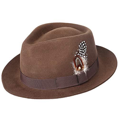 (Sedancasesa Men's Crushable Wool Felt Outback Safari Fedora Hat with Feather)