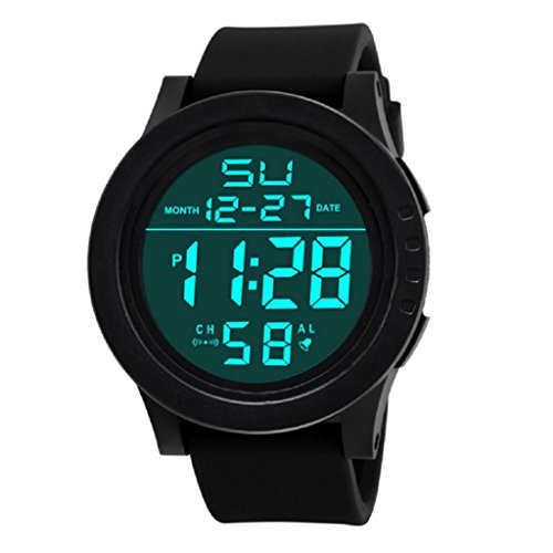 Mens Digital Watch,Hosamtel LED Sports Silicone Waterproof Quartz Wrist Watches - Sports Titanium Tag