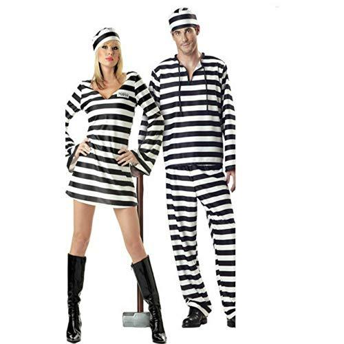 Couple Halloween Prisoner Cosplay Costumes Lover Zombie Vampire Cosplay Costumes Man Prisoner Set Girl Prisoner Dress(Women m)]()