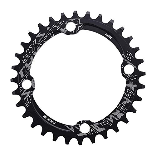 Dioche Bike Chainring, 32/34/36/38T BCD 104 Mountain Bike Single Speed Chainring Suitable for Road Bike Mountain Bike(32T-Black)
