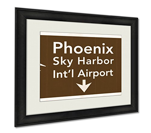 Ashley Framed Prints Phoenix Sky Harbor USA International Airport Highway Road Sign, Wall Art Home Decoration, Sepia, 30x35 (frame size), - Harbor Phoenix Sky Airport
