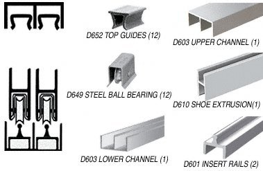 Brite Anodized Deluxe Track Assembly D603 Upper and D601 Rail With Steel Ball Bearing Wheels