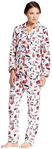 Gilligan and O'Malley Women's Woven Flannel Pajama Set (Small, White/Multi Print) - Flannel Pajama Pants Sleepwear
