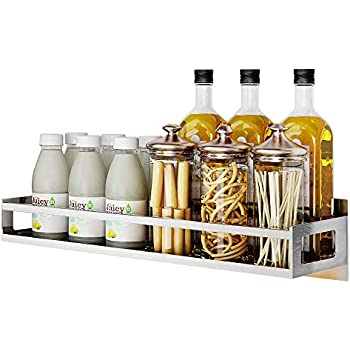 Junyuan Wall Mount Spice Rack Storage Organizer, Kitchen Seasoning Hanging Rack for Pantry Herb Jar Bottle Cans Holder Cabinet Shelf Storage, Bathroom Shelf-Space Saving, Durable-Stainless (19.8)