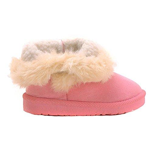 Winter Kinder Schneestiefel - hibote Baby Jungen Mädchen Warme Gefüttert Fell Boots Knopf Baby Schlupfstiefel Lässige Schuhe Rosa