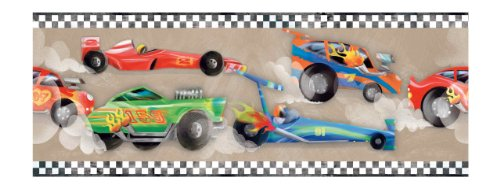 York Wallcoverings ZB3224BD Race Car Border, Cool Beige/Bright Red/Orange/Cobalt Blue/Lime Green/Black Cobalt Wallpaper