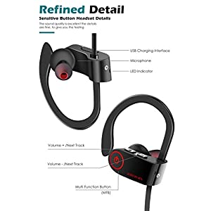 Bluetooth Headphones,SHREBORN Best Wireless Sports Earphones with Mic IPX7 Waterproof Sweatproof HD Noise Cancelling In Ear Earbuds Headsets for Gym,Running,Workout Etc(Black)