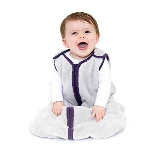 163 Plum - baby deedee Sleep Nest Teddy Baby Sleeping Bag, Silver Plum, Small (0-6 Months)