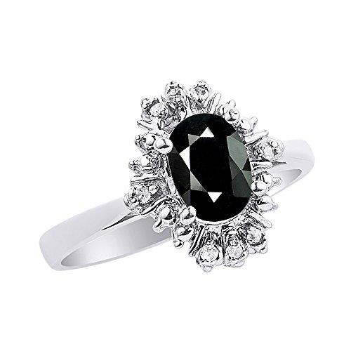 Diamond & Onyx Ring Set In 14K White Gold Fanned Diamonds ()
