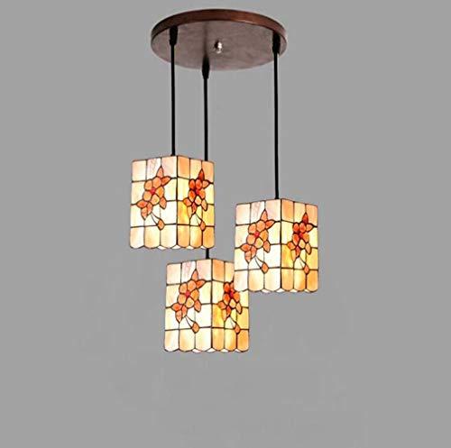 Tiffany Style Pendant Light, 5-Inch Color Shell Rich Flower Pattern Pendant Lamp Shade 3-Light Restaurant Bar Craft Ceiling Lighting Fixture,110-240V,B
