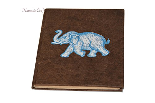 Nepali Notebook of Handmade Lokta Paper with Elephant printed on cover. Made in Nepal. (21 x 15.5 cm) (NB13)