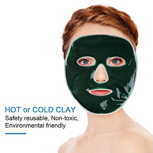 Gemtune Hot Cold Facial Ice Mask, Freezable Reusable Face Clay Pad, for Acne, Swollen Face, Puffy Eyes, Dark Circles, Headache, Migraine, Sinus Relief
