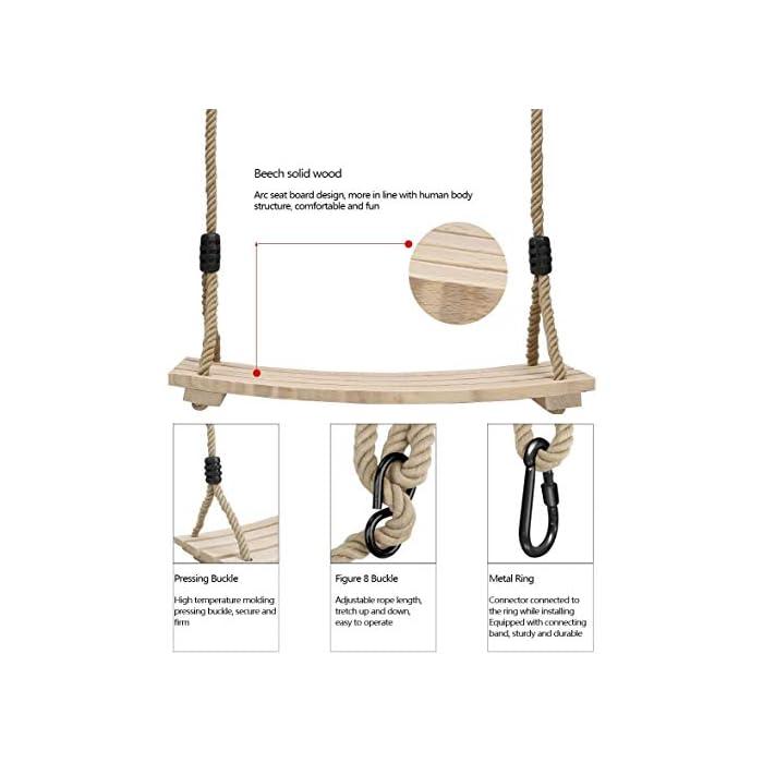 41LzhWlwCPL COLUMPIO DE ARBOL DE MADERA INTERIOR Y EXTERIOR: Nuestro columpio de árbol de madera diseñado con un asiento estriado antideslizante y lados elevados. Cuerda ajustable de 120 cm - 180 cm, anillos y accesorios de metal galvanizado También se puede colgar de una rama de árbol o una viga. El columpio de madera de colores brillantes para adultos y niños ofrece diversión , calidad y gran valor. ALTA CALIDAD: El material de madera natural le brinda seguridad y comodidad. La pintura en la superficie del asiento de madera para columpios puede protegerlo contra el moho antes de jugar afuera. viga.Peso máximo de carga: 100 kg, tamaño del asiento: 45x20x1.6cm / 17.7x7.9x0.6 pulgadas, asiento de silla de columpio grande apto para niños y adultos. Es muy seguro para usted y su familia. DISFRUTE DE LA INFANCIA CON SU FAMILIA: Pellor ¡El columpio de madera es la elección perfecta para satisfacer tu interior juguetón! Adecuado tanto para adultos como para niños promedio, tome un paseo en nuestros columpios para adultos al aire libre dentro de su hogar o patio de juegos, y disfrute de la brisa al aire libre y la sensación despreocupada de la infancia.