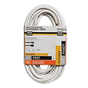 coleman cable 02356 01 40 foot 16 3 vinyl landscape outdoor extension cord white. Black Bedroom Furniture Sets. Home Design Ideas