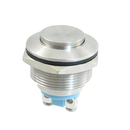 Uxcell a13040500ux0150 Stainless Steel Momentary Push Button Switch 22mm Flush Mount SPST