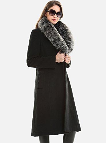 Abrigo Invierno Negro Collar Lana Capa Pelaje Mujer Escalier Calentar Real Largo RPwAEWqTB