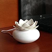 YJY Aromatherapy Essential Oil Diffuser USB Lotus Flower, Mini Portable Office Ultrasonic Humidifier for Home Desk Bedroom, with Waterless Auto Shut-off Function 100mL(Plastic, White)
