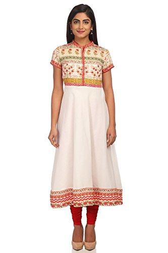 BIBA Women's Beige Anarkali Poly Cotton Kurta Size 36