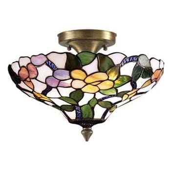 Dale Tiffany Th70655 Mosaic Semi Flush Mount Light Antique Brass And Mosaic Shade Close To