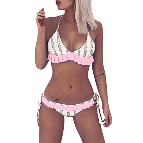 cc8d0a8daf DIOMOR Editor's Choice Women Floral Ruffles Bikini Push-Up Padded Swimwear  Swimsuit Bathing Beachwear Pink