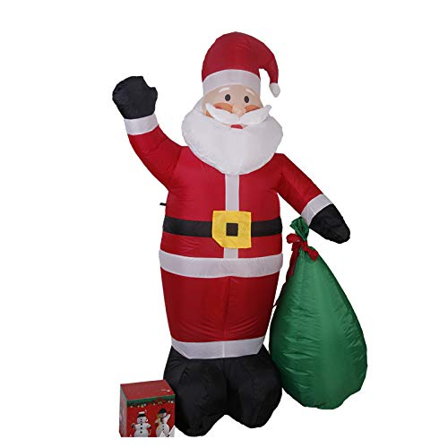 Viet-SC Inflatable Bouncers - 180cm Giant Santa Claus with Gift Boxes LED Luminous Inflatable Toys Christmas Birthday Wedding Party Props Yard Decoration 1 PCs]()