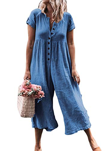 91be67bf0da FIYOTE Women Casual Button Down Short Sleeve Solid Wide Leg Jumpsuit Romper  Loose Long Pants S