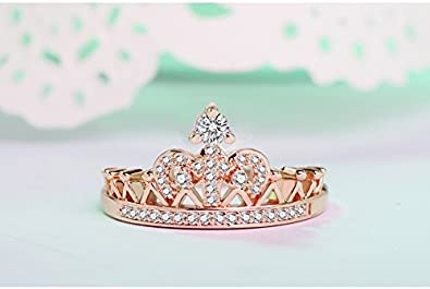 JJ WAY Jewelry Womens Pretty Princess Crown Cubic Zirconia Ring Rose Gold//Silver