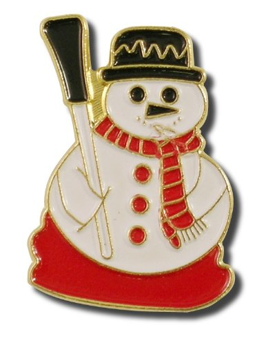Snowman Lapel Pin  with broom and red scarf