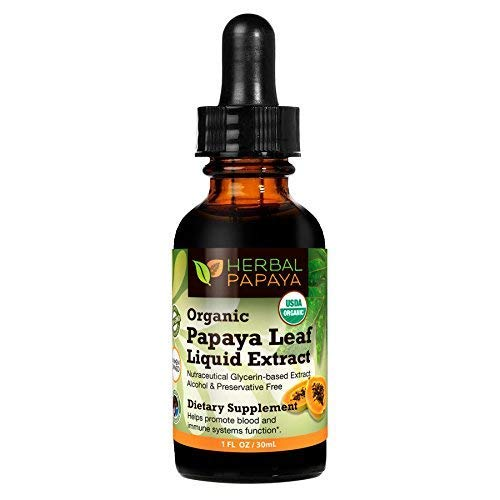 (Papaya Leaf Liquid Extract Juice - Natural Blood Platelet Boost, Bone Marrow, Immune Gut, Digestive Enzyme - 100% Organic Non-GMO Verified Kosher - 1oz Glass Bottle - Made in USA)