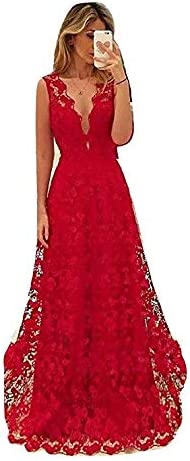 New Red Lace V Neck Long Gown Robe Dress Evening Party Formal Prom Dinner Dress Dinner Cruise Dress Size UK 12 Bargain Dress for /£18