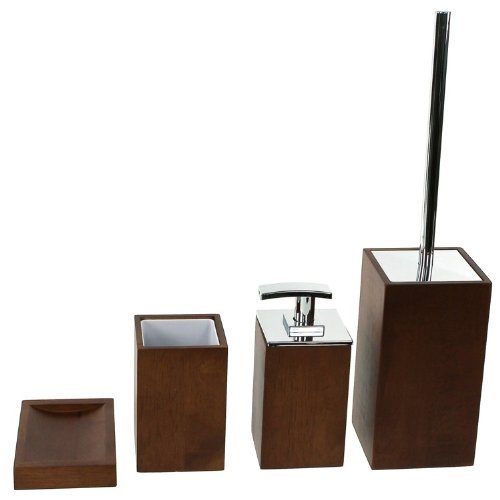 Gedy PA181-31 Papiro Wooden Bathroom Accessory Set, Brown by Gedy