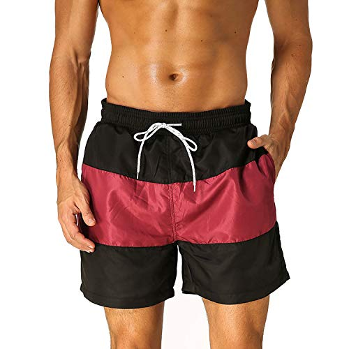 2019 New Hot Mens Shorts Surf Board Shorts Summer Sport Beach Homme Short Pants Quick Dry Boardshorts,Wine Red,XXXL