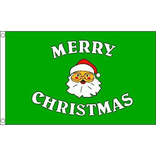 MERRY CHRISTMAS GREEN FLAG 3' x 5' - MERRY CHRISTMAS FLAGS 9