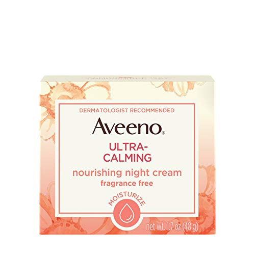 Aveeno Ultra-Calming Nourishing Night Cream for Sensitive Skin with Calming Feverfew & Nourishing Oat, Non-Comedogenic, Oil-Free & Hypoallergenic, 1.7 oz (Aveeno Ultra Calming Daily Moisturizer Spf 15)