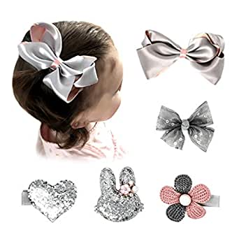 Pink and Boo Gift Set of Hair Bows, Alligator Clips, Barrettes, and Accessories for Fine Infant and Toddler Girls Hair (Silver)