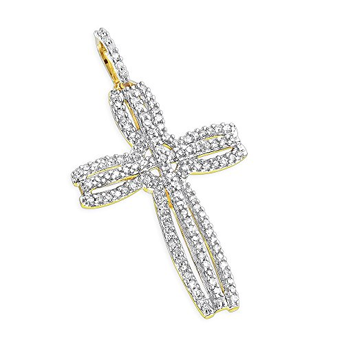 Womens 14K Unique Natural 0.25 Ctw Pave Set Diamond Cross Pendant For Her (Yellow Gold)