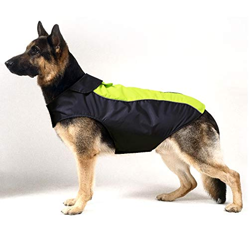 HiGuard Dog Raincoat Lightweight Waterproof Large Pet Dog Rain Jacket with Strip Reflective & Leash Hole Winter Dog Vest Warm Rain Coats Safety for Dogs and Puppies (XXL, Green)