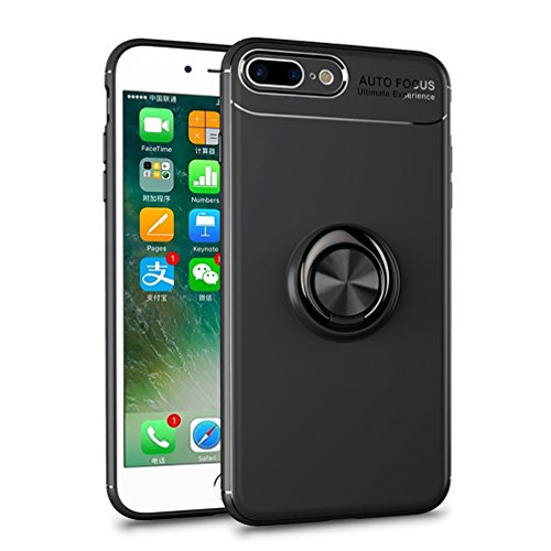 Price comparison product image ANERNAI iPhone 8 Plus 360Degree Rotating Ring Shockproof Compatible Magnetic Car Mount Cover for iPhone 8plus (Black-Black)